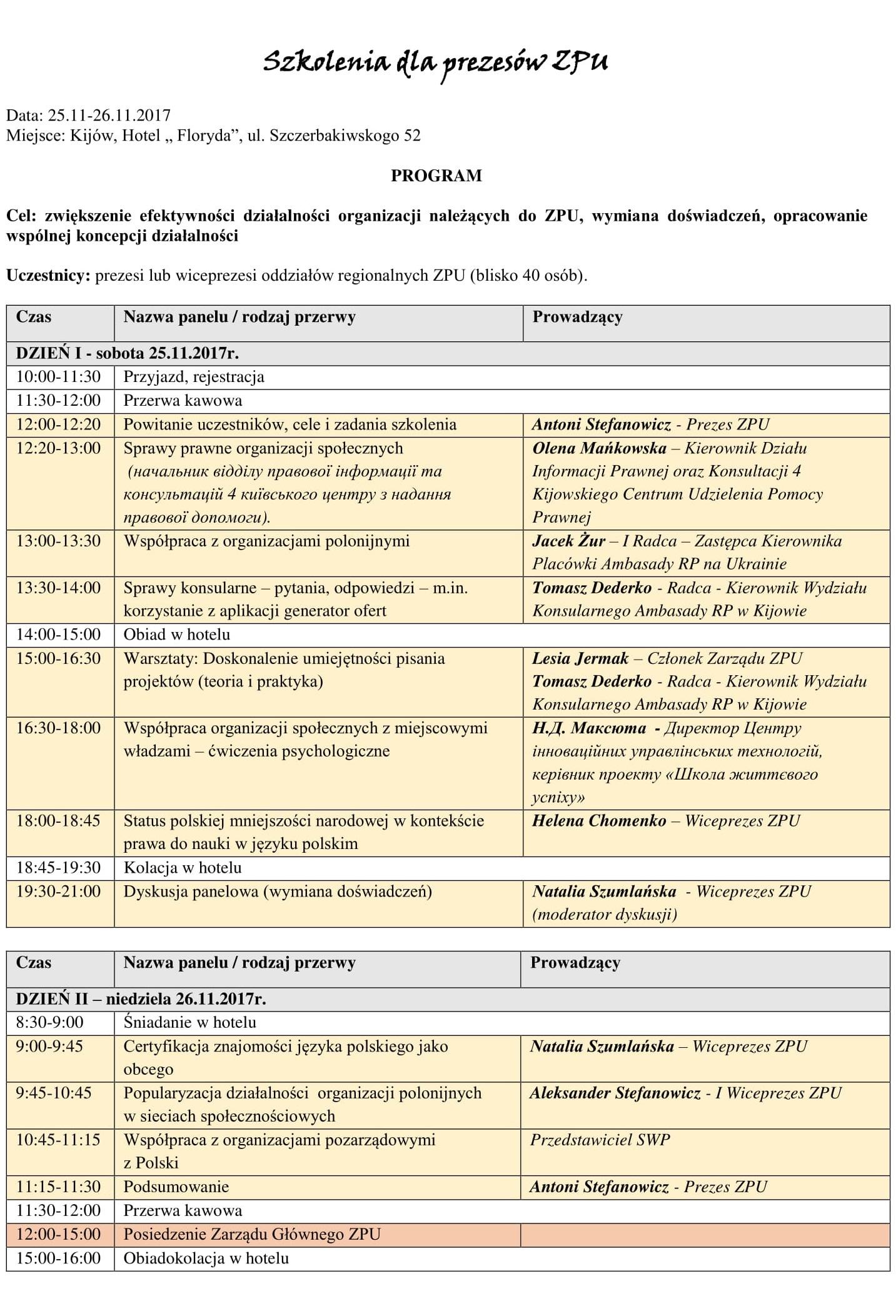 Szkolenie dla prezesów ZPU - Program-1