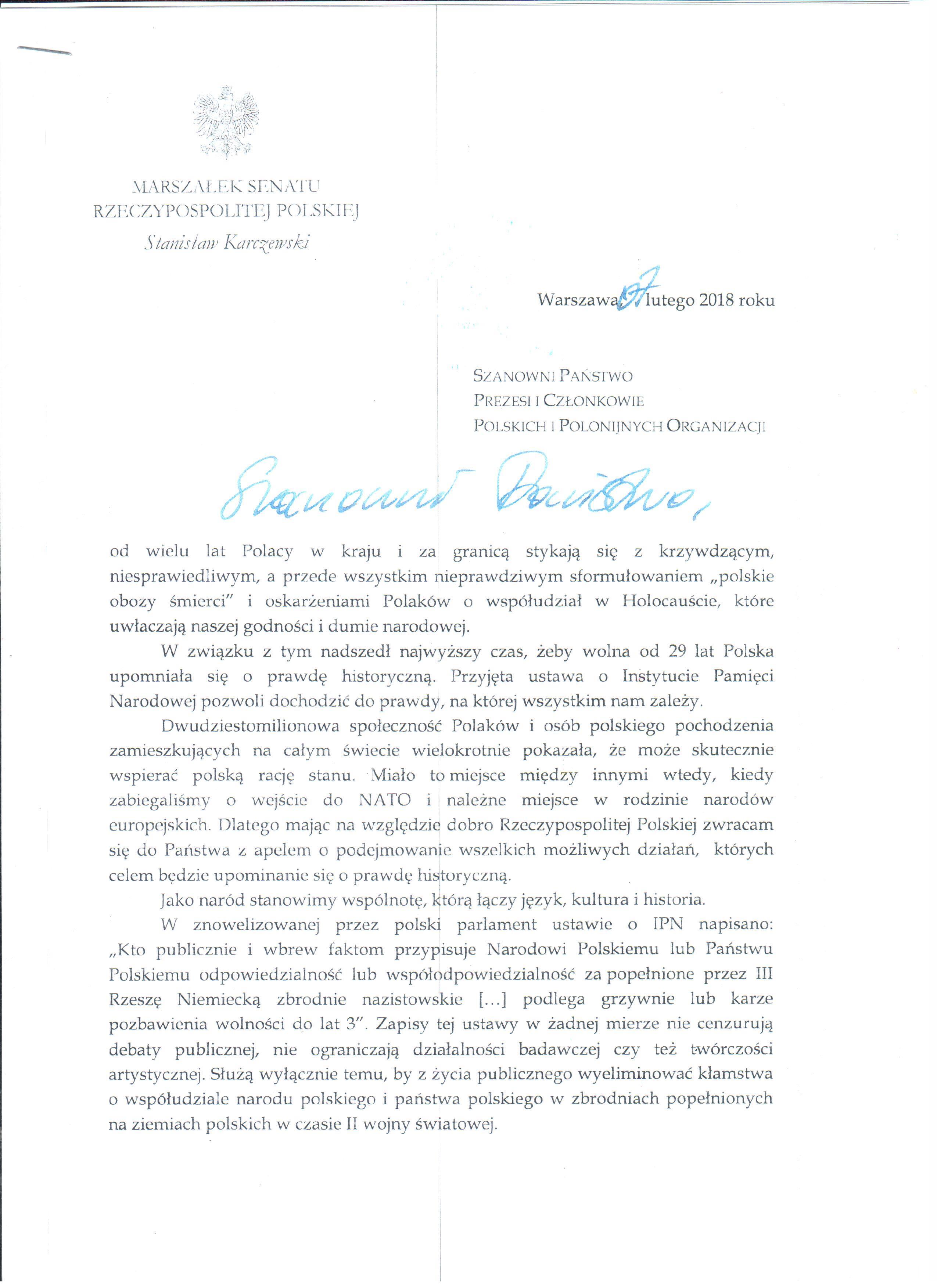 List Marszałka Senatu w sprawie obrony dobrego imienia Polski i Polaków